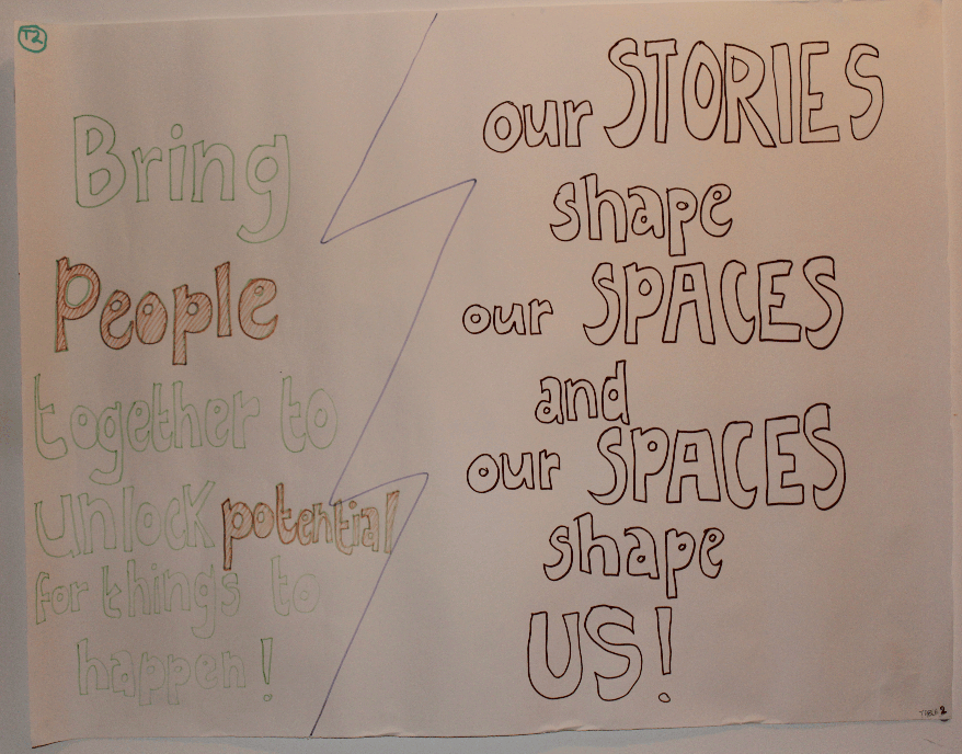 Writing on the wall: 'Our Stories shape our Spaces and our Spaces shape Us '