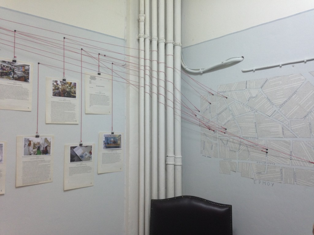 notes and pictures on the wall connected with string